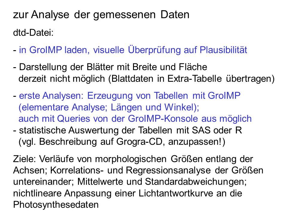 zur Analyse der gemessenen Daten dtd-Datei: - in GroIMP laden, visuelle Überprüfung auf Plausibilität - Darstellung der Blätter mit Breite und Fläche
