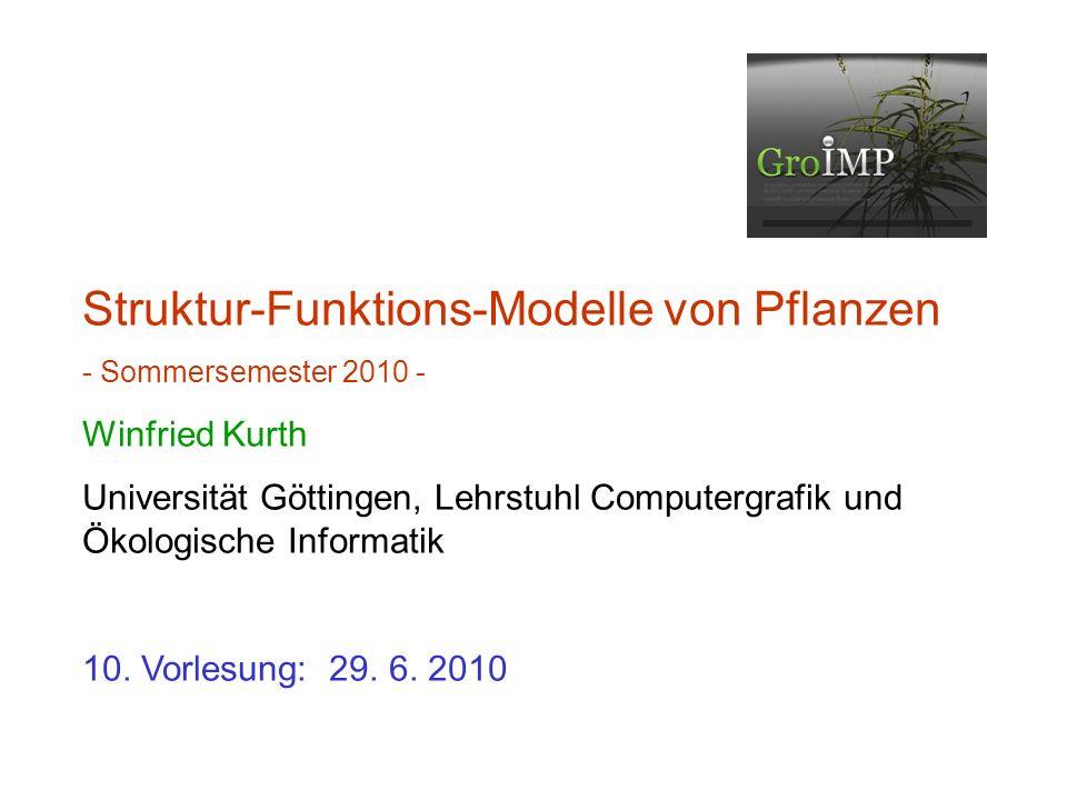 zuletzt: Zugriffsmöglichkeiten auf Attribute Graph-Queries Dickenwachstum, pipe model Software GroIMP (Übersicht) Fichtenmodell als Beispiel (wird nächstes Mal besprochen)