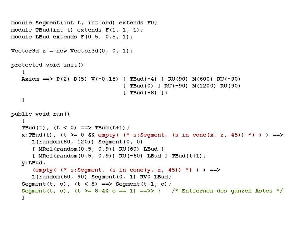 module Segment(int t, int ord) extends F0; module TBud(int t) extends F(1, 1, 1); module LBud extends F(0.5, 0.5, 1); Vector3d z = new Vector3d(0, 0, 1); protected void init() [ Axiom ==> P(2) D(5) V(-0.15) [ TBud(-4) ] RU(90) M(600) RU(-90) [ TBud(0) ] RU(-90) M(1200) RU(90) [ TBud(-8) ]; ] public void run() [ TBud(t), (t TBud(t+1); x:TBud(t), (t >= 0 && empty( (* s:Segment, (s in cone(x, z, 45)) *) ) ) ==> L(random(80, 120)) Segment(0, 0) [ MRel(random(0.5, 0.9)) RU(60) LBud ] [ MRel(random(0.5, 0.9)) RU(-60) LBud ] TBud(t+1); y:LBud, (empty( (* s:Segment, (s in cone(y, z, 45)) *) ) ) ==> L(random(60, 90) Segment(0, 1) RV0 LBud; Segment(t, o), (t Segment(t+1, o); Segment(t, o), (t >= 8 && o == 1) ==>> ; /* Entfernen des ganzen Astes */ ]
