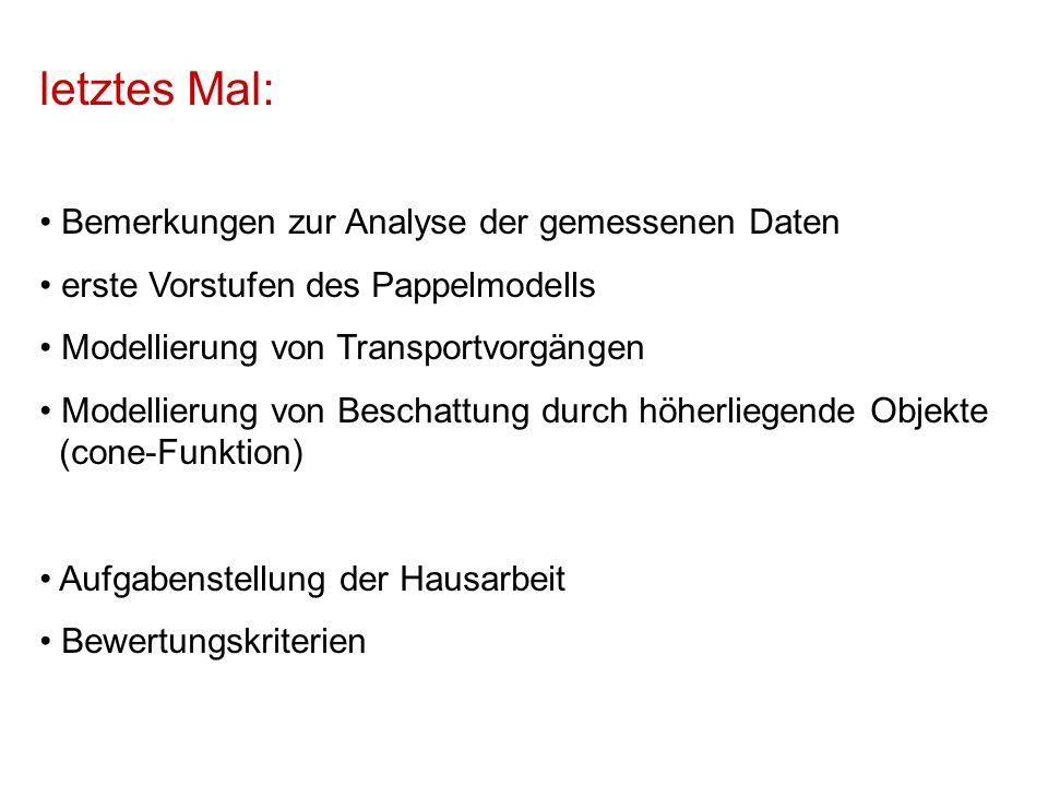 letztes Mal: Bemerkungen zur Analyse der gemessenen Daten erste Vorstufen des Pappelmodells Modellierung von Transportvorgängen Modellierung von Beschattung durch höherliegende Objekte (cone-Funktion) Aufgabenstellung der Hausarbeit Bewertungskriterien