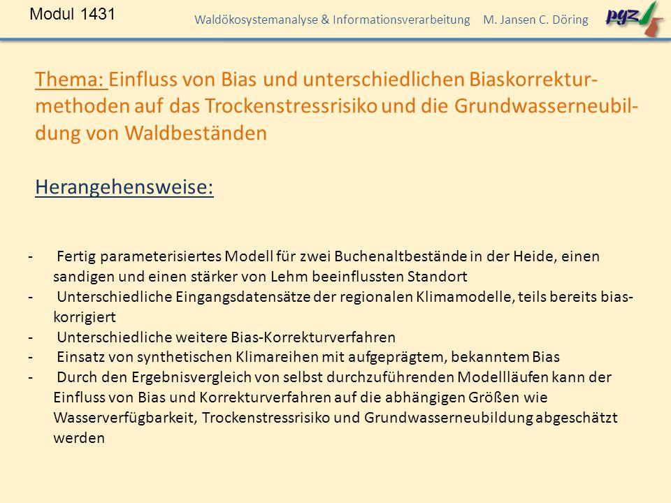 Modul 1431 Waldökosystemanalyse & Informationsverarbeitung M.