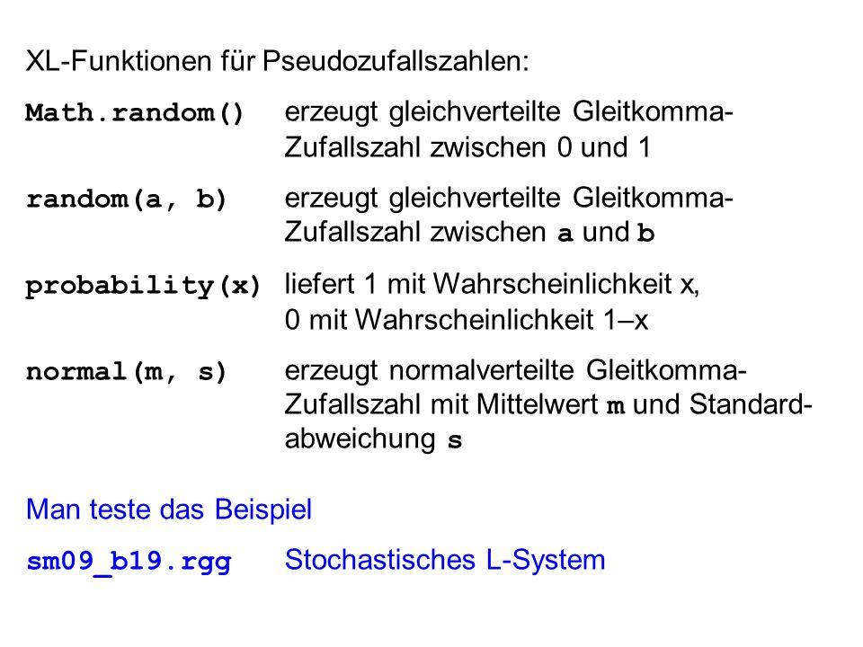 XL-Funktionen für Pseudozufallszahlen: Math.random() erzeugt gleichverteilte Gleitkomma- Zufallszahl zwischen 0 und 1 random(a, b) erzeugt gleichverteilte Gleitkomma- Zufallszahl zwischen a und b probability(x) liefert 1 mit Wahrscheinlichkeit x, 0 mit Wahrscheinlichkeit 1–x normal(m, s) erzeugt normalverteilte Gleitkomma- Zufallszahl mit Mittelwert m und Standard- abweichung s Man teste das Beispiel sm09_b19.rgg Stochastisches L-System