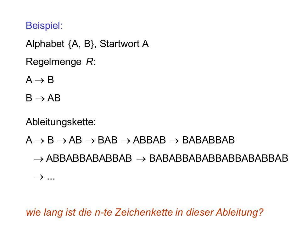 Beispiel: Alphabet {A, B}, Startwort A Regelmenge R: A B B AB Ableitungskette: A B AB BAB ABBAB BABABBAB ABBABBABABBAB BABABBABABBABBABABBAB...