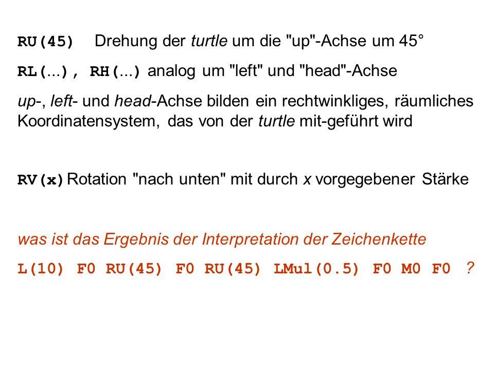 RU(45) Drehung der turtle um die up -Achse um 45° RL(...