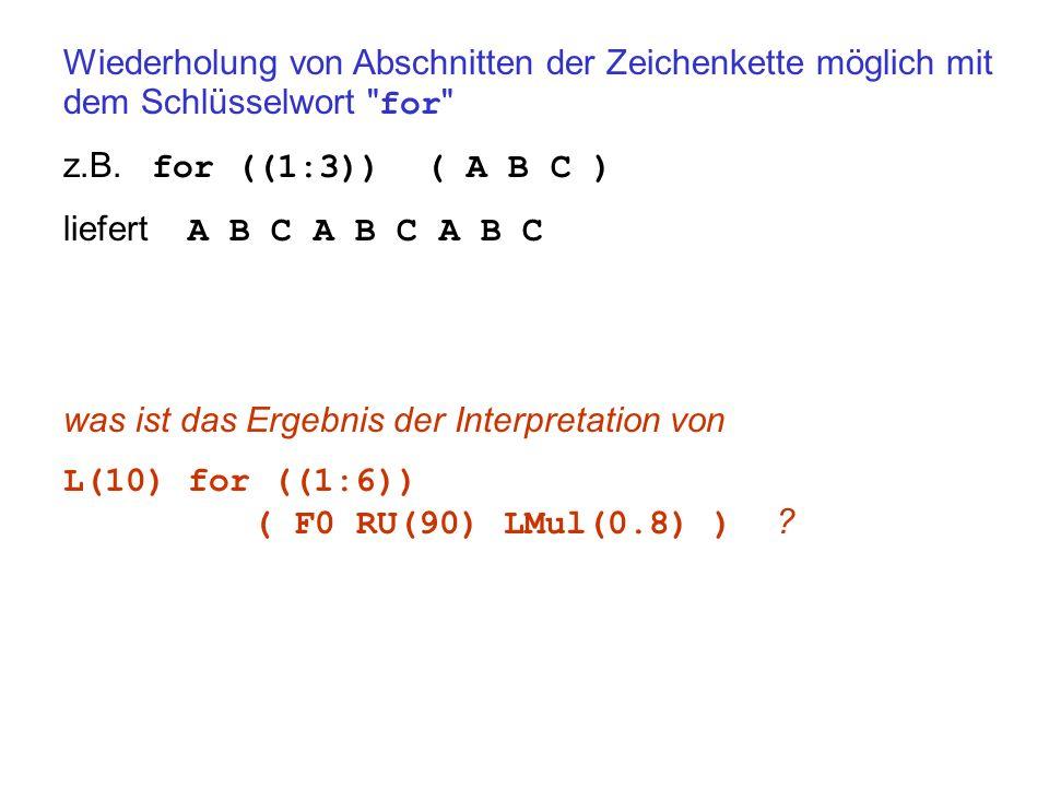 Wiederholung von Abschnitten der Zeichenkette möglich mit dem Schlüsselwort for z.B.