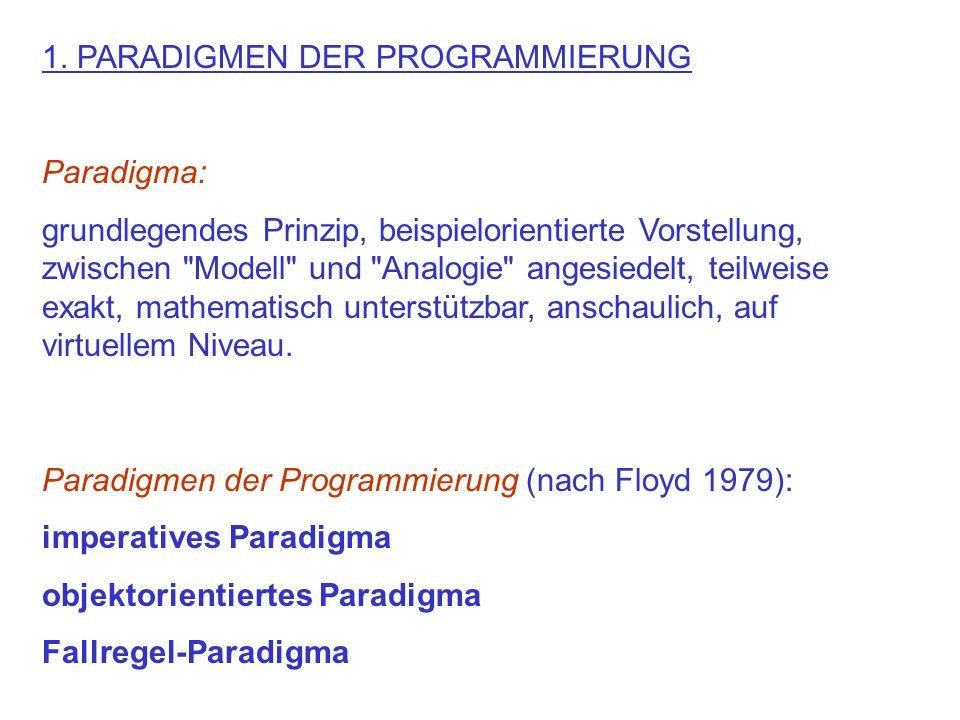 1. PARADIGMEN DER PROGRAMMIERUNG Paradigma: grundlegendes Prinzip, beispielorientierte Vorstellung, zwischen
