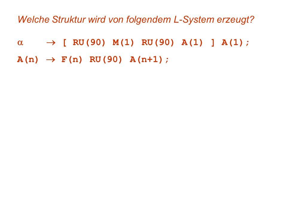 Welche Struktur wird von folgendem L-System erzeugt? [ RU(90) M(1) RU(90) A(1) ] A(1); A(n) F(n) RU(90) A(n+1);
