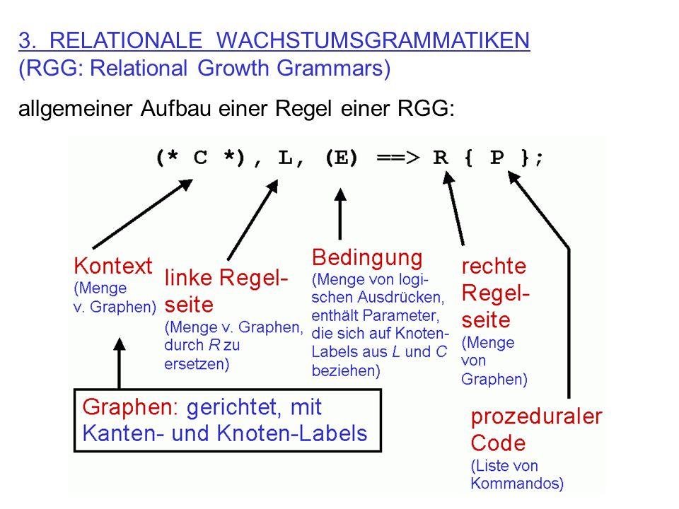 3. RELATIONALE WACHSTUMSGRAMMATIKEN (RGG: Relational Growth Grammars) allgemeiner Aufbau einer Regel einer RGG: