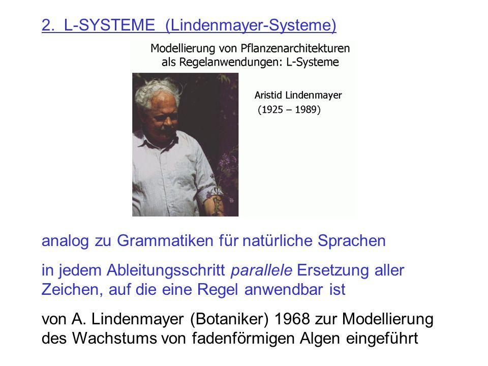 2. L-SYSTEME (Lindenmayer-Systeme) analog zu Grammatiken für natürliche Sprachen in jedem Ableitungsschritt parallele Ersetzung aller Zeichen, auf die