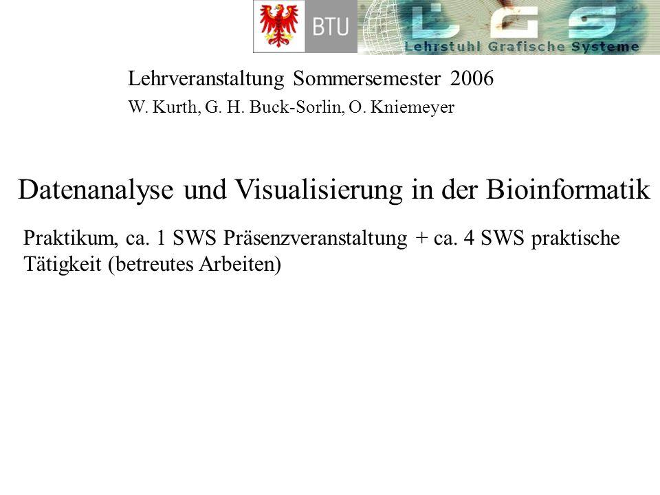 Lehrveranstaltung Sommersemester 2006 Datenanalyse und Visualisierung in der Bioinformatik W. Kurth, G. H. Buck-Sorlin, O. Kniemeyer Praktikum, ca. 1