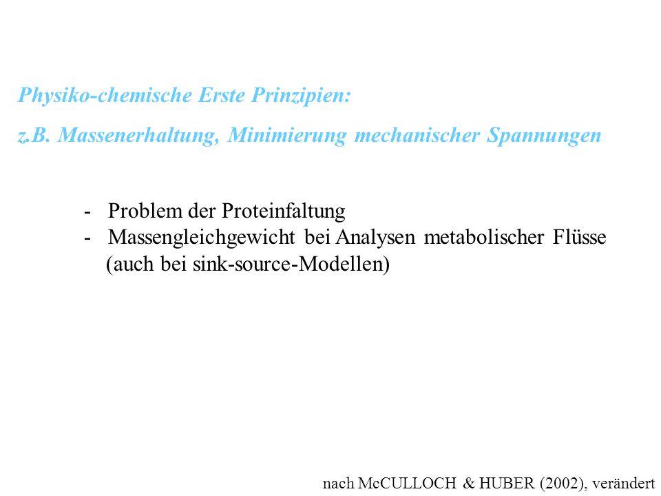 nach McCULLOCH & HUBER (2002), verändert Physiko-chemische Erste Prinzipien: z.B. Massenerhaltung, Minimierung mechanischer Spannungen - Problem der P