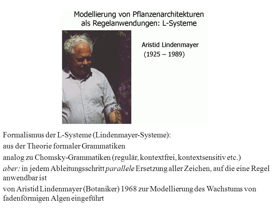 Formalismus der L-Systeme (Lindenmayer-Systeme): aus der Theorie formaler Grammatiken analog zu Chomsky-Grammatiken (regulär, kontextfrei, kontextsens