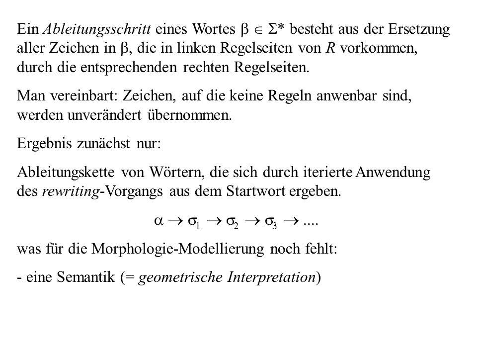 Ein Ableitungsschritt eines Wortes * besteht aus der Ersetzung aller Zeichen in, die in linken Regelseiten von R vorkommen, durch die entsprechenden r