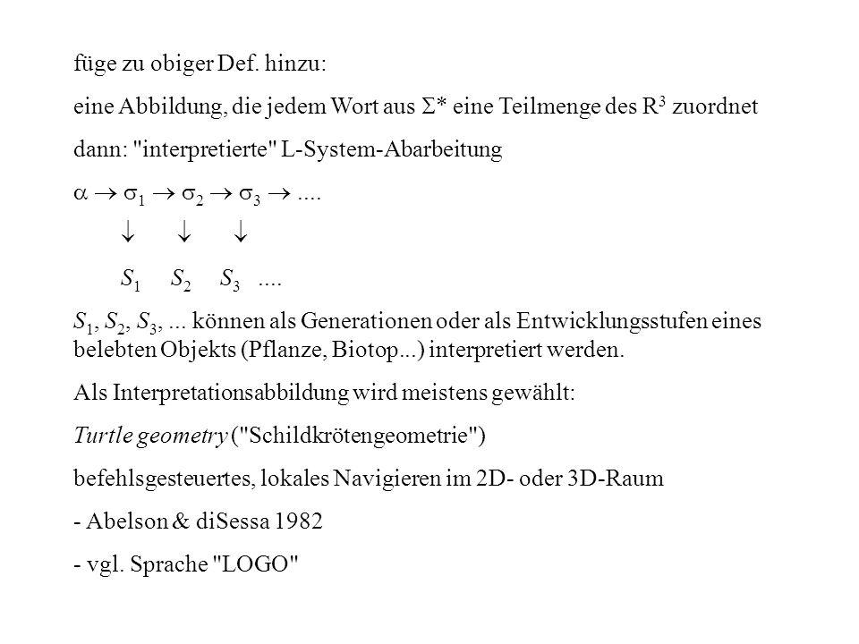 füge zu obiger Def. hinzu: eine Abbildung, die jedem Wort aus * eine Teilmenge des R 3 zuordnet dann: