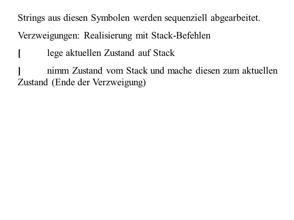 Strings aus diesen Symbolen werden sequenziell abgearbeitet. Verzweigungen: Realisierung mit Stack-Befehlen [lege aktuellen Zustand auf Stack ]nimm Zu