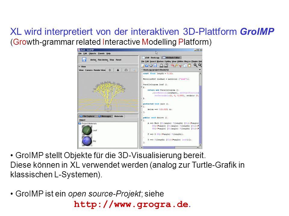 XL wird interpretiert von der interaktiven 3D-Plattform GroIMP (Growth-grammar related Interactive Modelling Platform) GroIMP stellt Objekte für die 3