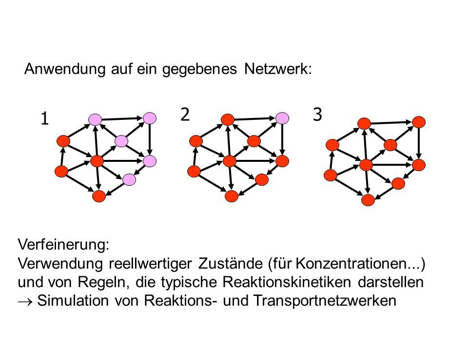 Anwendung auf ein gegebenes Netzwerk: 1 23 Verfeinerung: Verwendung reellwertiger Zustände (für Konzentrationen...) und von Regeln, die typische Reakt