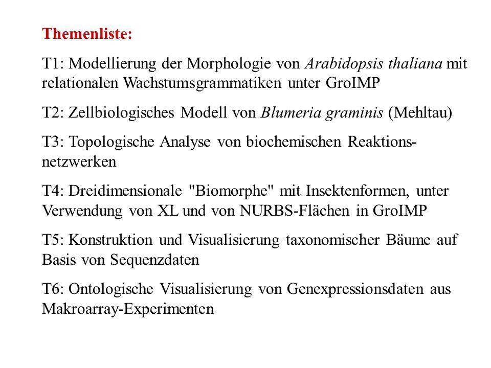Themenliste: T1: Modellierung der Morphologie von Arabidopsis thaliana mit relationalen Wachstumsgrammatiken unter GroIMP T2: Zellbiologisches Modell