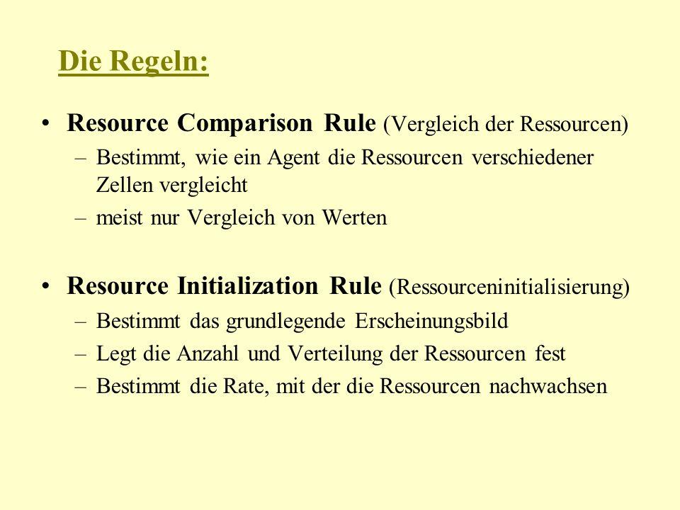 Die Regeln: Resource Comparison Rule (Vergleich der Ressourcen) –Bestimmt, wie ein Agent die Ressourcen verschiedener Zellen vergleicht –meist nur Vergleich von Werten Resource Initialization Rule (Ressourceninitialisierung) –Bestimmt das grundlegende Erscheinungsbild –Legt die Anzahl und Verteilung der Ressourcen fest –Bestimmt die Rate, mit der die Ressourcen nachwachsen