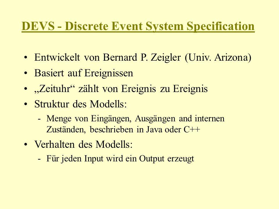 DEVS Struktur M = { X, S, Y, int, ext,, ta } X: Menge von Eingangsvariablen S: Menge von Zuständen Y: Menge von Ausgangsvariablen int : S S – Funktion für interne Zustandsübergänge ext : Q x X S – Funktion für externe Zustandsübergänge -Q = {(s,e)   s S, 0 e ta(s)} – Menge aller Zustände -e: verstrichene Zeit seit letztem Zustandswechsel : S Y – Ausgabefunktion ta: S R + – Zeitfunktion für internen Zustandsübergang