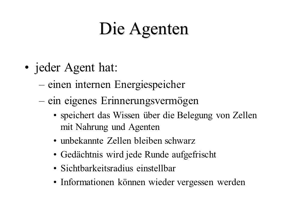 Die Agenten jeder Agent hat: –einen internen Energiespeicher –ein eigenes Erinnerungsvermögen speichert das Wissen über die Belegung von Zellen mit Na