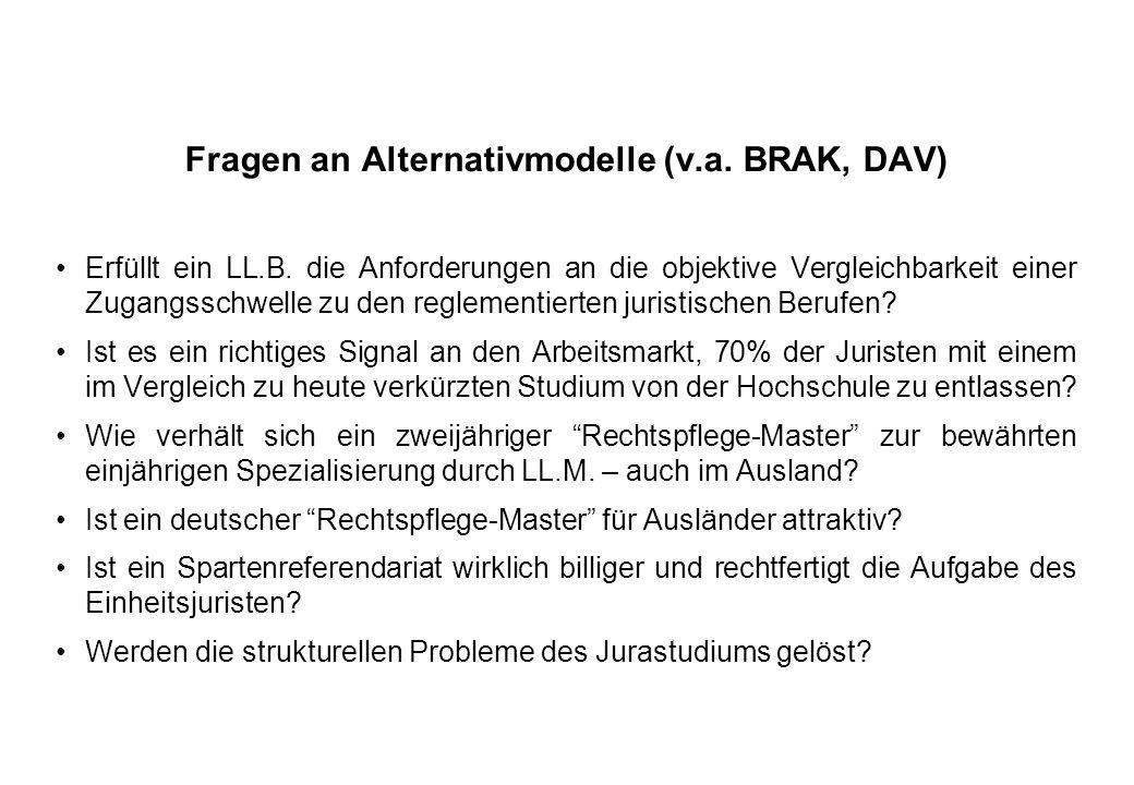 Fragen an Alternativmodelle (v.a. BRAK, DAV) Erfüllt ein LL.B. die Anforderungen an die objektive Vergleichbarkeit einer Zugangsschwelle zu den reglem