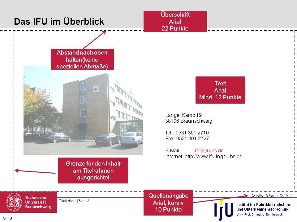 Titel  Name   Seite 3 © IFU Das IFU im Überblick Quelle: [Domb 12] S.1 Langer Kamp 19 38106 Braunschweig Tel.: 0531 391 2710 Fax: 0531 391 2727 E-Mail:ifu@tu-bs.deifu@tu-bs.de Internet: http://www.ifu.ing.tu-bs.de