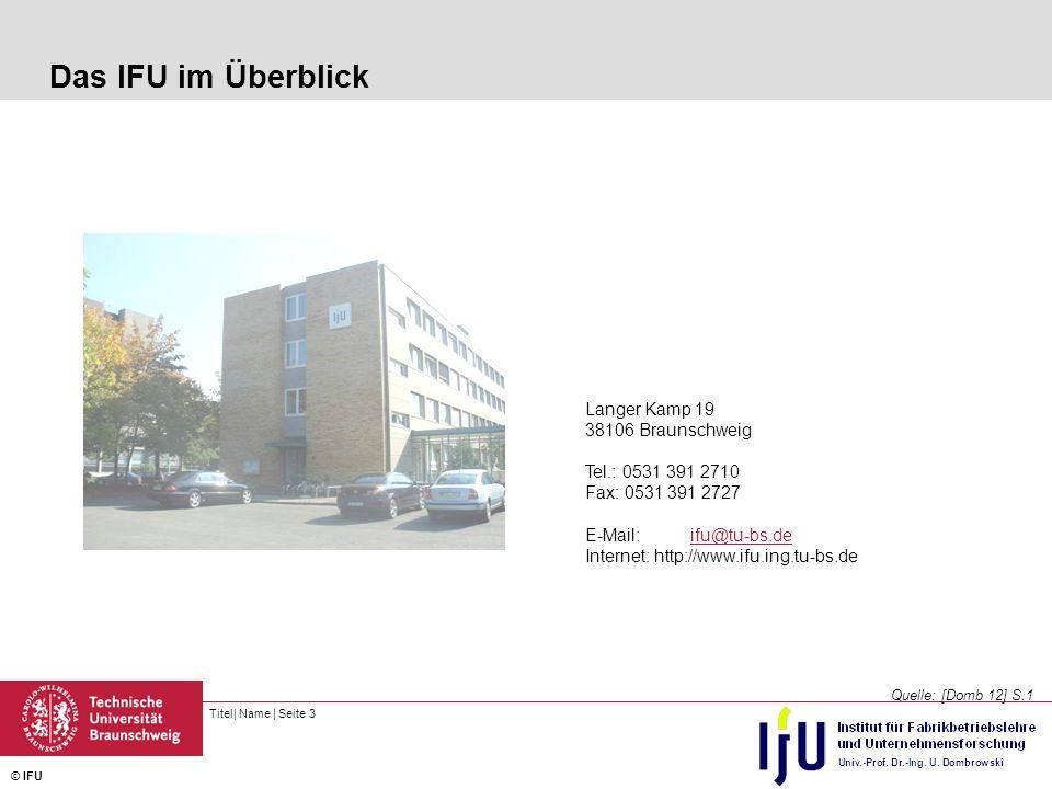 Titel| Name | Seite 3 © IFU Das IFU im Überblick Quelle: [Domb 12] S.1 Langer Kamp 19 38106 Braunschweig Tel.: 0531 391 2710 Fax: 0531 391 2727 E-Mail:ifu@tu-bs.deifu@tu-bs.de Internet: http://www.ifu.ing.tu-bs.de