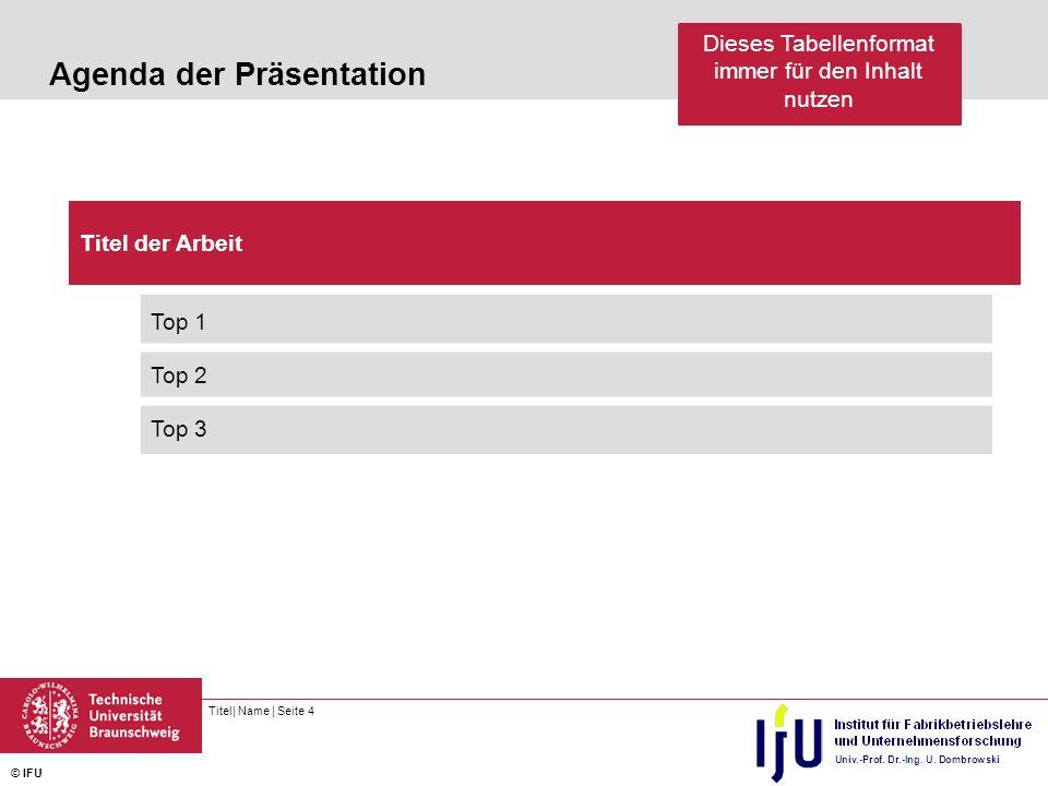 Titel| Name | Seite 4 © IFU Agenda der Präsentation Titel der Arbeit Top 1 Top 2 Top 3 Dieses Tabellenformat immer für den Inhalt nutzen