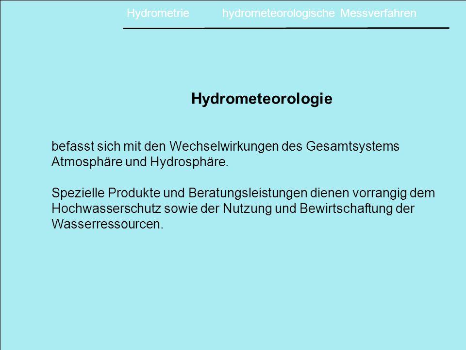 Hydrometrische Messgrößen einzelner Hydrosysteme