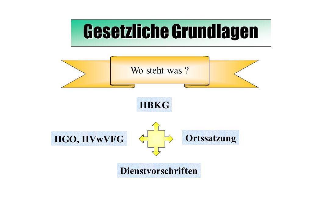 Gesetzliche Grundlagen Wo steht was ? HBKG HGO, HVwVFG Ortssatzung Dienstvorschriften