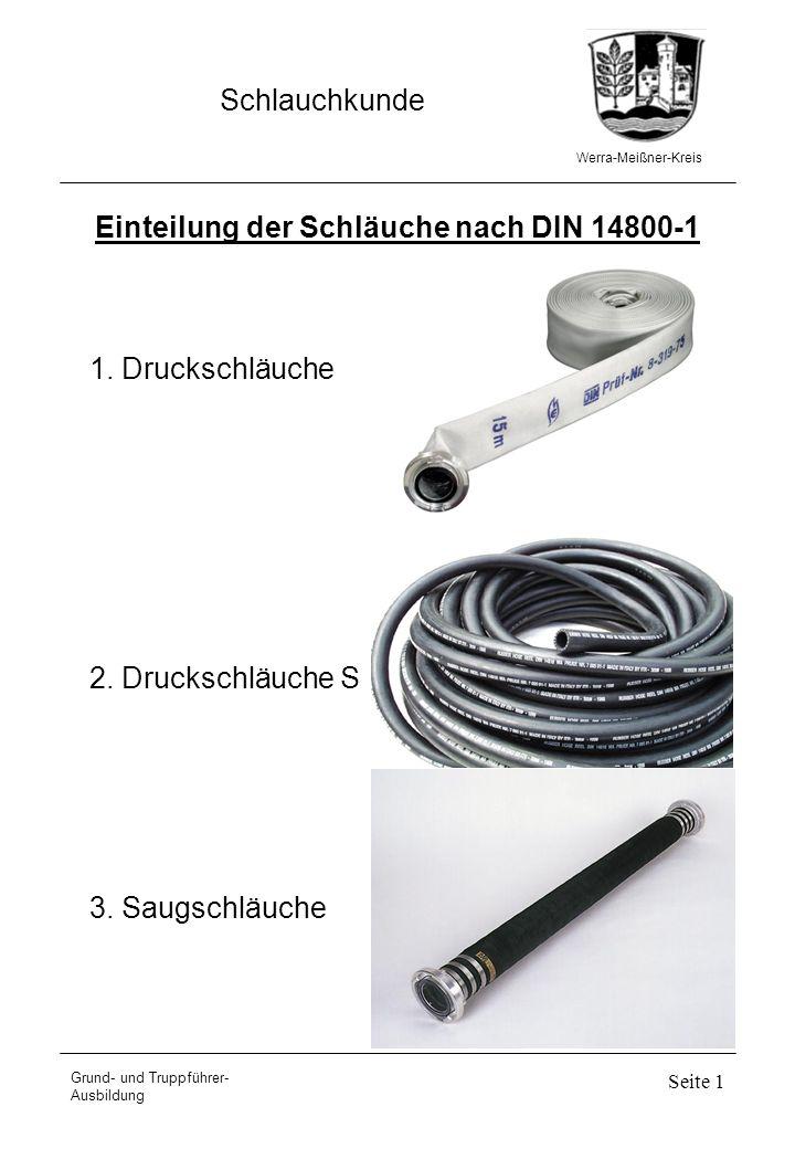 Werra-Meißner-Kreis Schlauchkunde Grund- und Truppführer- Ausbildung Seite 1 Einteilung der Schläuche nach DIN 14800-1 1. Druckschläuche 2. Druckschlä