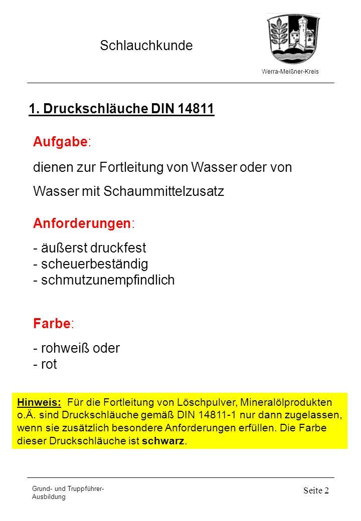 Werra-Meißner-Kreis Schlauchkunde Grund- und Truppführer- Ausbildung Seite 3 x - x - - Ausführungen der Druckschläuche Kurz- zeichen Innendurch- messer Länge des Druckschlauches 5 m15 m20 m30 m35 m A B C 52 C 42 D 110 mm 75 mm 52 mm 42 mm 25 mm x - x - x - x - - - - x - x - x x - - - Verwendungszweck der Druckschläuche SchlauchartVerwendung B-5-K B-20-K B-35-K C-42-15-K C-42-30-K D-5-K als Füllschlauch, zum Ableiten von Wasser zum Fortleiten von Löschwasser nur für Drehleitern zum Fortleiten von Löschwasser für Schnellangriffseinrichtungen für die Kübelspritze