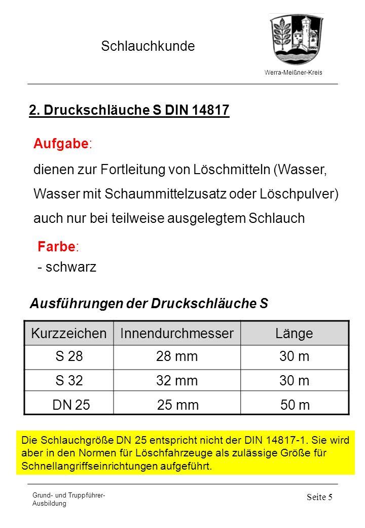 Werra-Meißner-Kreis Schlauchkunde Grund- und Truppführer- Ausbildung Seite 5 2. Druckschläuche S DIN 14817 dienen zur Fortleitung von Löschmitteln (Wa