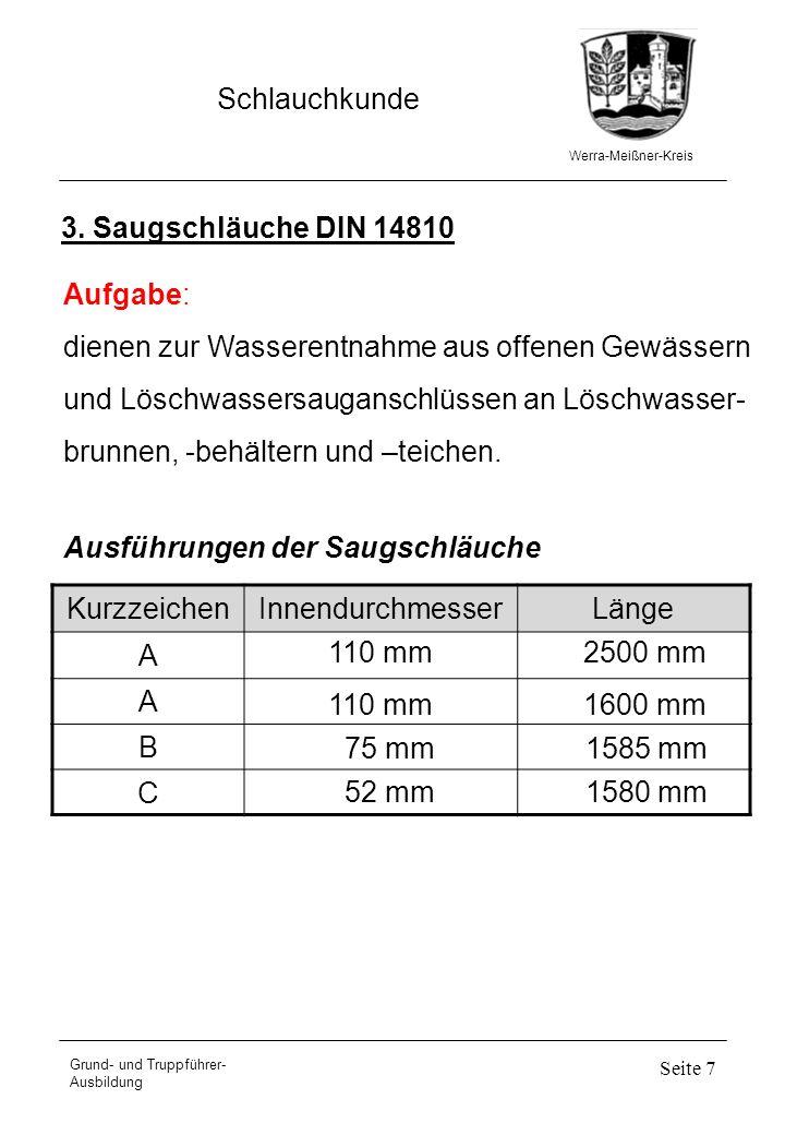 Werra-Meißner-Kreis Schlauchkunde Grund- und Truppführer- Ausbildung Seite 7 3. Saugschläuche DIN 14810 Aufgabe: dienen zur Wasserentnahme aus offenen