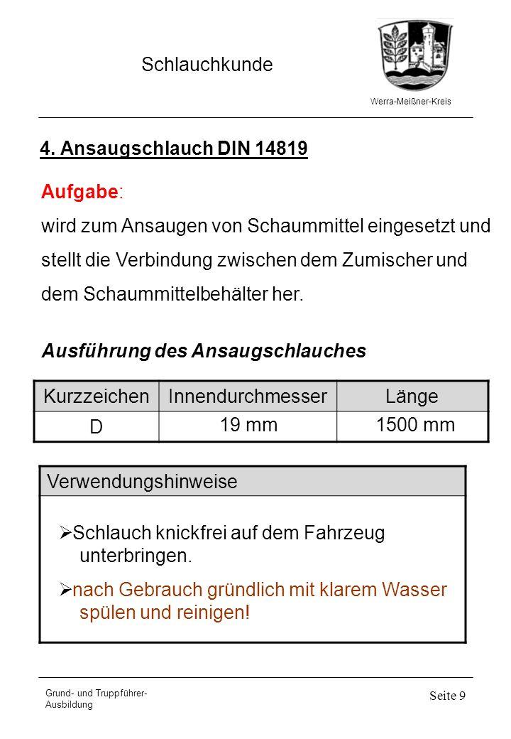 Werra-Meißner-Kreis Schlauchkunde Grund- und Truppführer- Ausbildung Seite 9 4. Ansaugschlauch DIN 14819 Aufgabe: wird zum Ansaugen von Schaummittel e