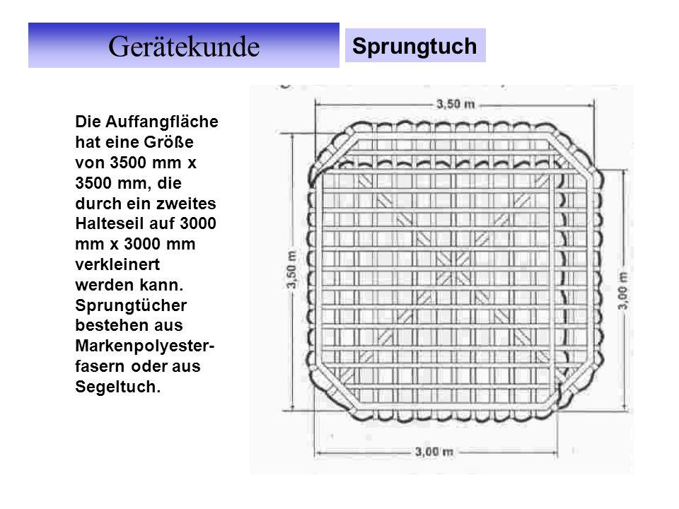 Gerätekunde Sprungtuch Die Auffangfläche hat eine Größe von 3500 mm x 3500 mm, die durch ein zweites Halteseil auf 3000 mm x 3000 mm verkleinert werden kann.