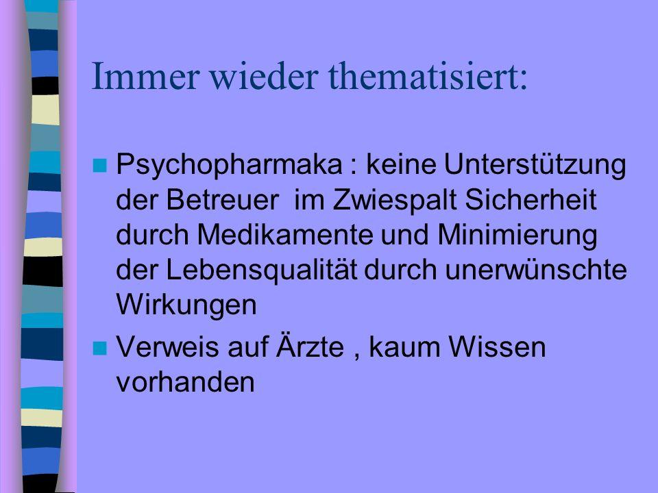 Immer wieder thematisiert: Psychopharmaka : keine Unterstützung der Betreuer im Zwiespalt Sicherheit durch Medikamente und Minimierung der Lebensquali