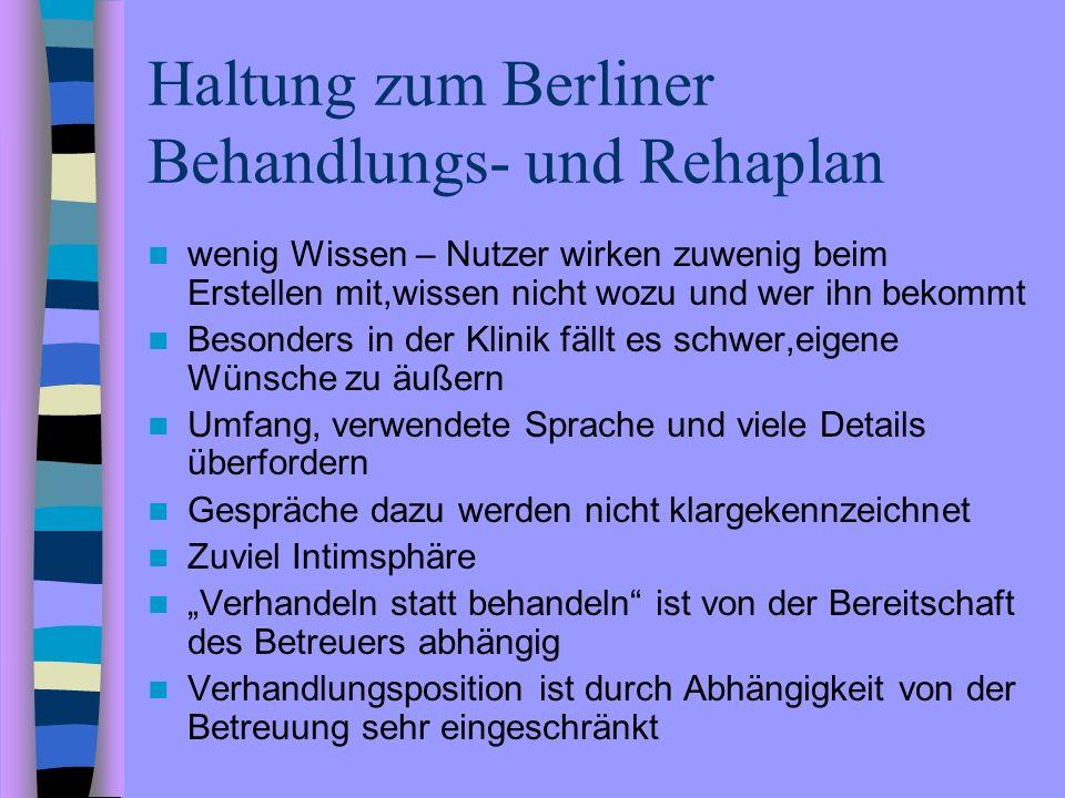 Haltung zum Berliner Behandlungs- und Rehaplan wenig Wissen – Nutzer wirken zuwenig beim Erstellen mit,wissen nicht wozu und wer ihn bekommt Besonders