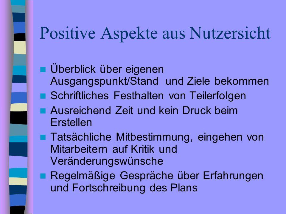 Positive Aspekte aus Nutzersicht Überblick über eigenen Ausgangspunkt/Stand und Ziele bekommen Schriftliches Festhalten von Teilerfolgen Ausreichend Z