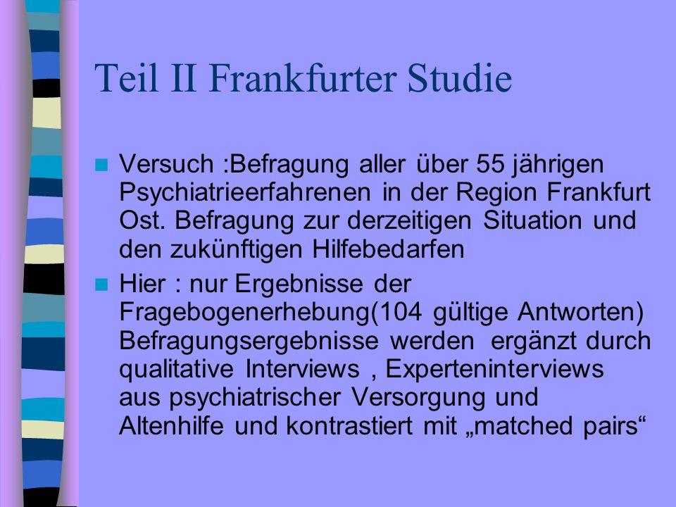 Teil II Frankfurter Studie Versuch :Befragung aller über 55 jährigen Psychiatrieerfahrenen in der Region Frankfurt Ost. Befragung zur derzeitigen Situ