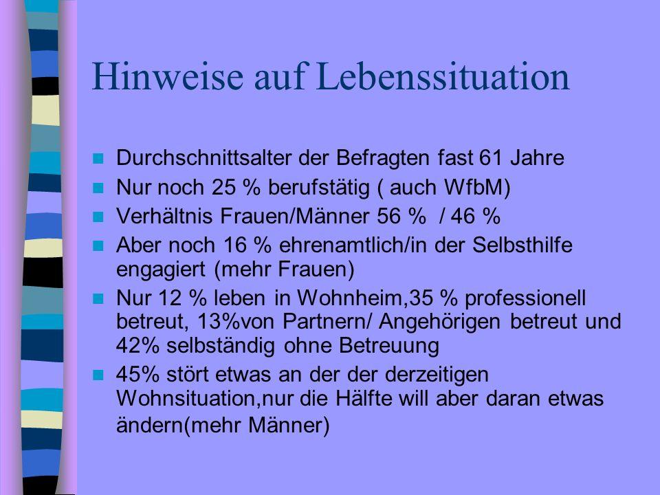 Hinweise auf Lebenssituation Durchschnittsalter der Befragten fast 61 Jahre Nur noch 25 % berufstätig ( auch WfbM) Verhältnis Frauen/Männer 56 % / 46