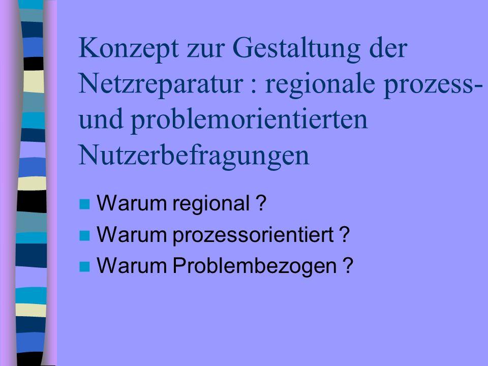 Konzept zur Gestaltung der Netzreparatur : regionale prozess- und problemorientierten Nutzerbefragungen Warum regional ? Warum prozessorientiert ? War