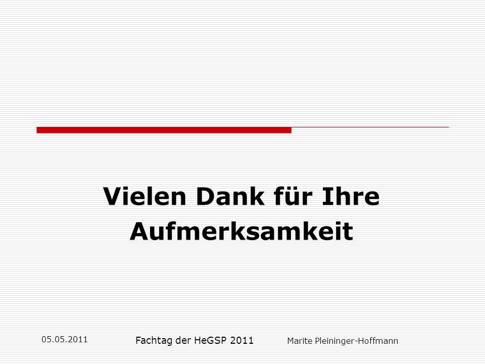 05.05.2011 Fachtag der HeGSP 2011 Marite Pleininger-Hoffmann Vielen Dank für Ihre Aufmerksamkeit