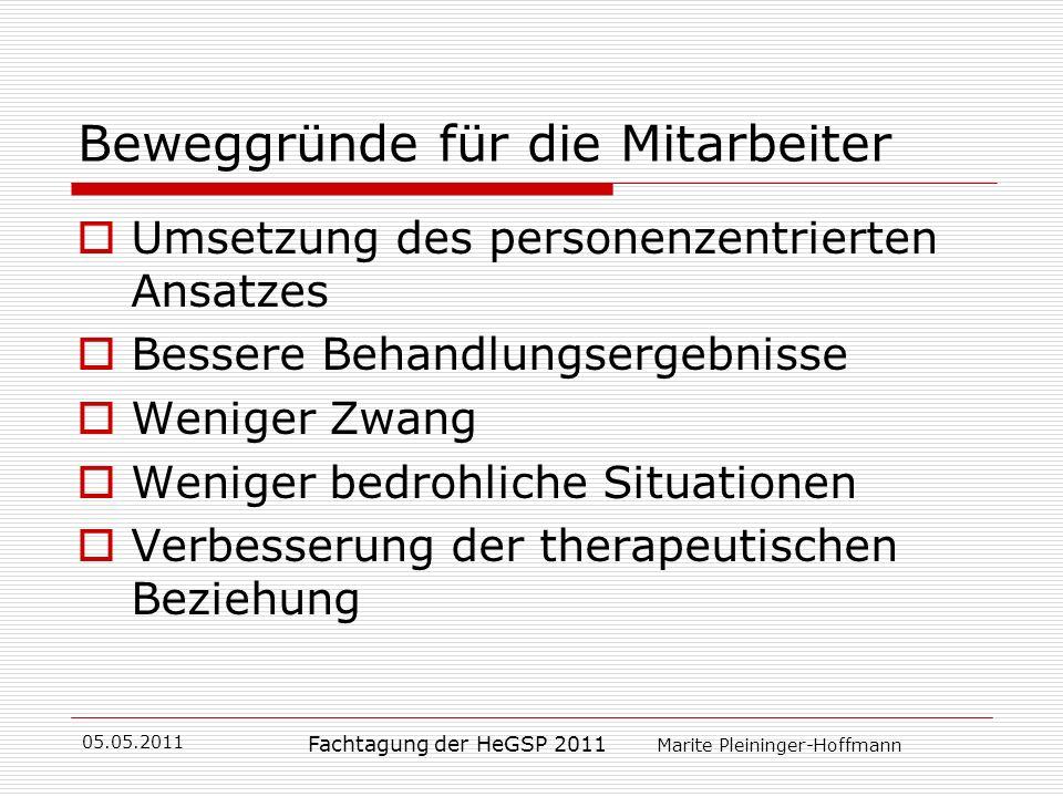 05.05.2011 Fachtagung der HeGSP 2011 Marite Pleininger-Hoffmann Beweggründe für die Mitarbeiter Umsetzung des personenzentrierten Ansatzes Bessere Beh