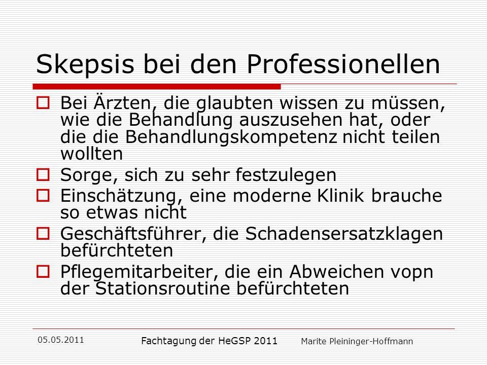 05.05.2011 Fachtagung der HeGSP 2011 Marite Pleininger-Hoffmann Skepsis bei den Professionellen Bei Ärzten, die glaubten wissen zu müssen, wie die Beh