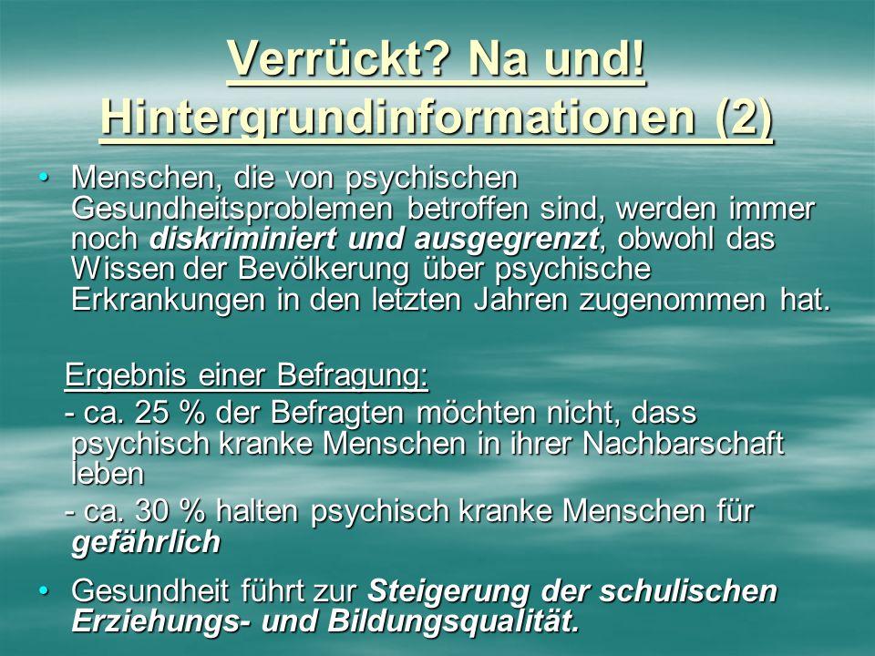 Verrückt? Na und! Hintergrundinformationen (2) Menschen, die von psychischen Gesundheitsproblemen betroffen sind, werden immer noch diskriminiert und