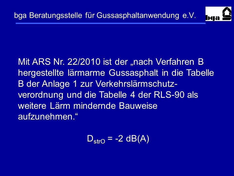 bga Beratungsstelle für Gussasphaltanwendung e.V. Mit ARS Nr. 22/2010 ist der nach Verfahren B hergestellte lärmarme Gussasphalt in die Tabelle B der