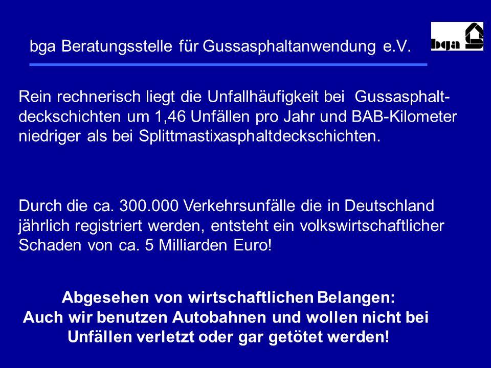 bga Beratungsstelle für Gussasphaltanwendung e.V. Rein rechnerisch liegt die Unfallhäufigkeit bei Gussasphalt- deckschichten um 1,46 Unfällen pro Jahr