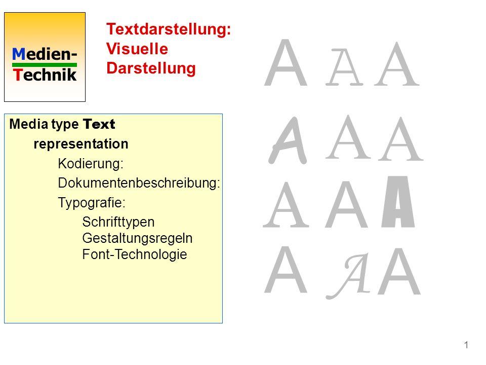 Medien- Technik 1 Textdarstellung: Visuelle Darstellung Media type Text representation Kodierung: ASCII (American Standard for Information Interchange
